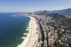 Aerial view of dangerous and deadly rip currents along the coastline of Rio de Janeiro, Brasil.